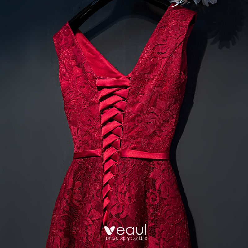 Chic / Beautiful Red Formal Dresses 2017 A-Line / Princess Lace Flower Bow V-Neck Sleeveless Ankle Length Evening Dresses