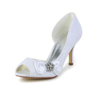 Elegant White Wedding Shoes Peep Toe Stilettos Lace Pumps With Rhinestone Bow