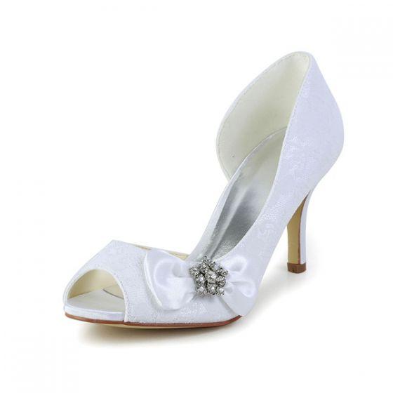Elegant White Wedding Shoes Peep Toe Stilettos Lace Pumps With Rhinestone Bow
