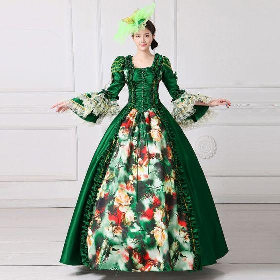 Vintage Medieval Verde Oscuro Ball Gown Vestidos de gala 2021 Escote Cuadrado Largos Manga Larga Cuadradas Flor Impresión Cosplay Gala Vestidos Formales