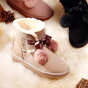 Modern / Fashion Snow Boots 2017 Khaki Leather Ankle Suede Lace-up Bow Casual Winter Flat Womens Boots