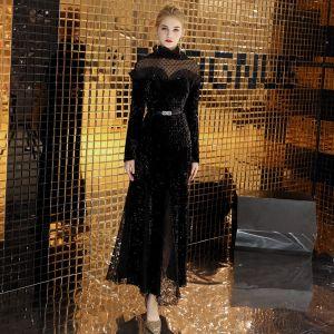 Charmant Noire Robe De Soirée 2019 Princesse Col Haut Daim Perlage Paillettes Ceinture Manches Longues Longueur Cheville Robe De Ceremonie
