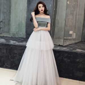 Chic / Beautiful Ivory Evening Dresses  2019 Empire Off-The-Shoulder Sleeveless Floor-Length / Long Ruffle Backless Formal Dresses