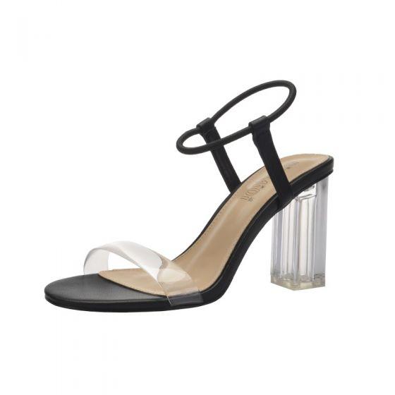 Enkel Sexy Svart Gateklær Sandaler Dame 2020 Ankelstropp 9 cm Tykk Hæler Peep Toe Sandaler