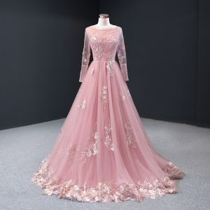 High-end Candy Pink Evening Dresses  2020 A-Line / Princess Scoop Neck Long Sleeve Flower Appliques Lace Beading Floor-Length / Long Backless Formal Dresses
