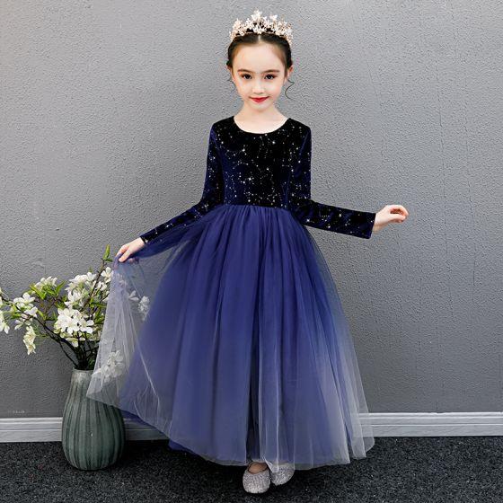 Niedrogie Królewski Niebieski Urodziny Sukienki Dla Dziewczynek 2020 Suknia Balowa Wycięciem Długie Rękawy Cekinami Gwiazda Długie Wzburzyć