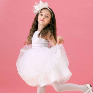 Flash Diamanten Witte Bloem Meisje Jurk Rok Prinses Jurk