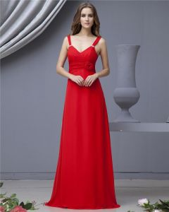 Chiffon Ruffle Shoulder Straps Floor Length Bridesmaid Dresses