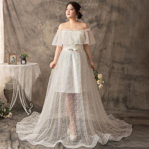 Mode A Linie Weiß Übergröße Brautkleider / Hochzeitskleider 2019 U-Ausschnitt Tülle Spitze Applikationen Rückenfreies Hof-Schleppe Hochzeit