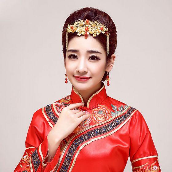 Klassisk Kinesisk Stil Brude Medaljon / Hoved Blomst / Bryllup Hårpynt / Bryllup Smykker