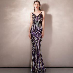 Schick Multifarben Pailletten Abendkleider 2020 Meerjungfrau Spaghettiträger Ärmellos Lange Rüschen Rückenfreies Festliche Kleider