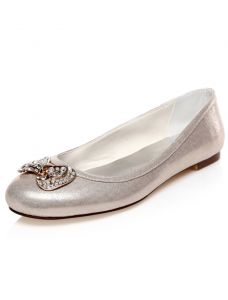 Sparkly Wedding Shoes With Glitter Flat Bridal Shoes Metal Bowknot With Rhinestone