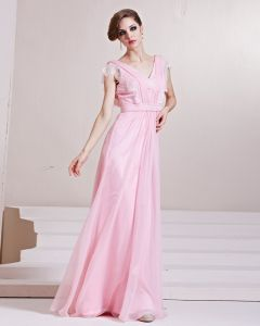 Fashion Tencel Charmeuse Beaded V Neck Floor Length Evening Dress