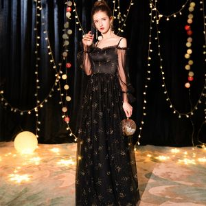 Affordable Black Evening Dresses  2019 A-Line / Princess Off-The-Shoulder Spaghetti Straps Puffy Long Sleeve Glitter Tulle Floor-Length / Long Ruffle Backless Formal Dresses