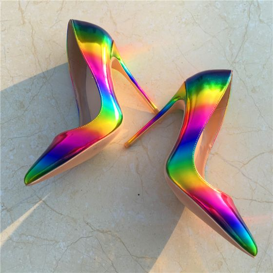 Chic / Beautiful Rainbow Rave Club Pumps 2019 Multi-Colors Leather 10 cm Stiletto Heels Pointed Toe Pumps