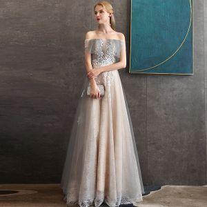 Elegant Champagne Lace Evening Dresses  2020 A-Line / Princess Off-The-Shoulder Short Sleeve Appliques Flower Beading Floor-Length / Long Ruffle Backless Formal Dresses