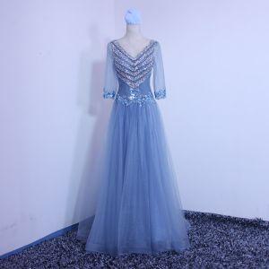 Schöne Blau Abendkleider 2019 A Linie V-Ausschnitt Perlenstickerei Pailletten Spitze Blumen 3/4 Ärmel Rückenfreies Schleife Lange Festliche Kleider