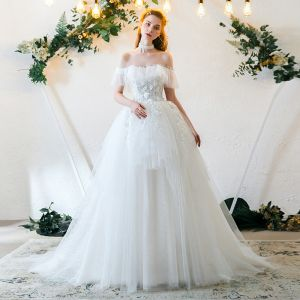 Affordable Ivory Wedding Dresses 2019 A-Line / Princess Off-The-Shoulder Short Sleeve Backless Appliques Lace Pearl Sweep Train Ruffle