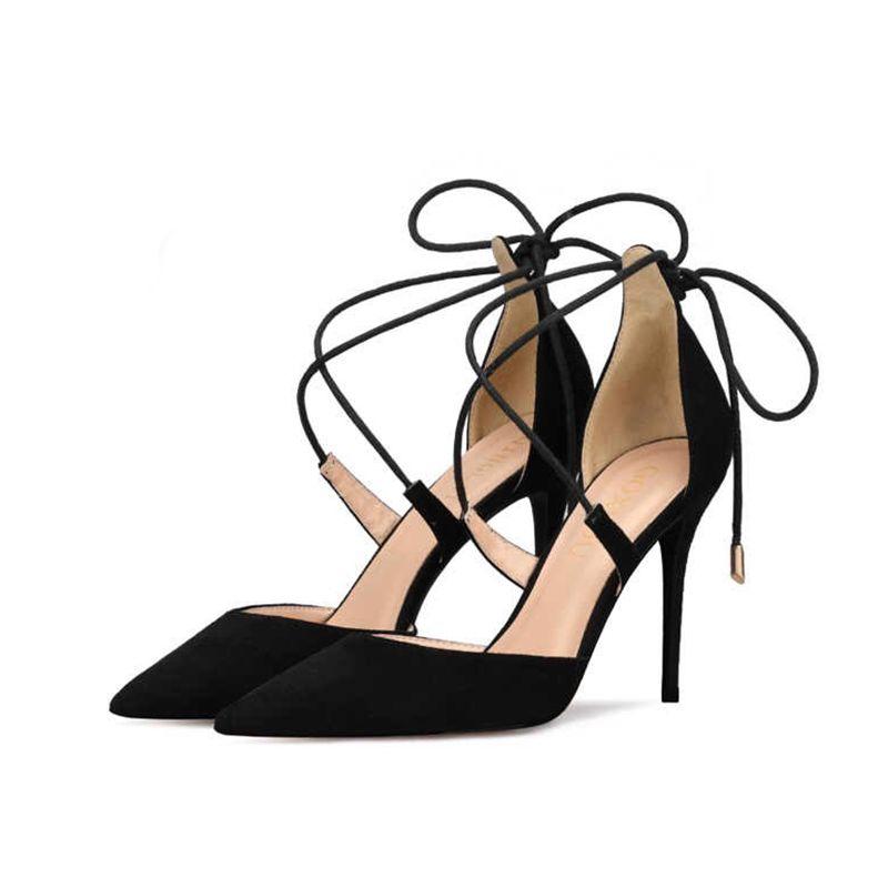 Bride Cheville Talons 10 cm Talons Chaussures Strap Soirée Aiguilles X Hauts 2019 Pointu Charmant À Femmes Noire Bout XkTuPZOi