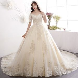 Charming Champagne Wedding Dresses 2019 A-Line / Princess Off-The-Shoulder Sequins Pearl Lace Flower Short Sleeve Cathedral Train