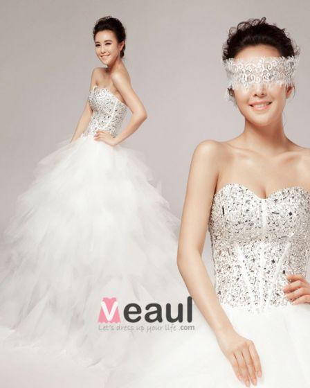 Perles Volants Cherie Etage Longueur Tulle Robe De Bal De Mariage Robe