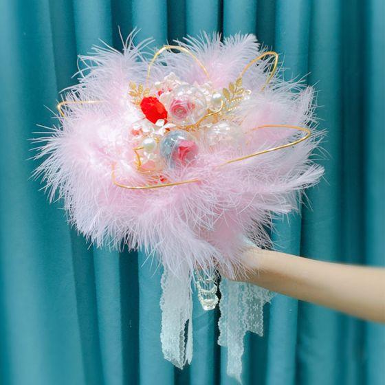 Chic / Belle Rougissant Rose Bouquet De Mariée 2020 Fait main Plumes Fleur Perle La Mariée Mariage Promo Accessorize
