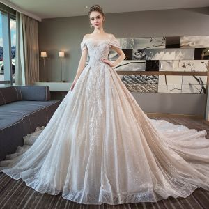 Luxury / Gorgeous Champagne Wedding Dresses 2018 Ball Gown Lace Beading Pearl Sequins Off-The-Shoulder Backless Short Sleeve Royal Train Wedding