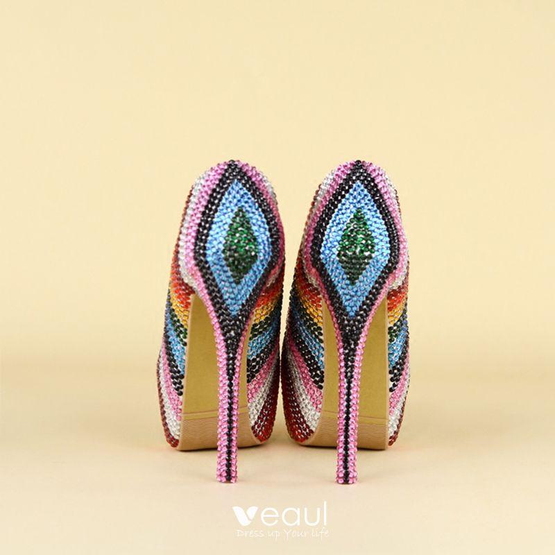Único Multi Colors Cita Gala Rebordear Crystal Zapatos De Mujer 2018