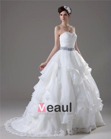 Sweetheart Perlen Bodenlange Falten Garn-ballkleid-hochzeitskleid