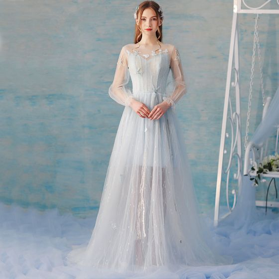 Elegant Himmelen Blå Sommer Selskapskjoler 2018 Prinsesse Blonder Blomst Beading Scoop Halsen Ryggløse Langermede Feie Tog Formelle Kjoler
