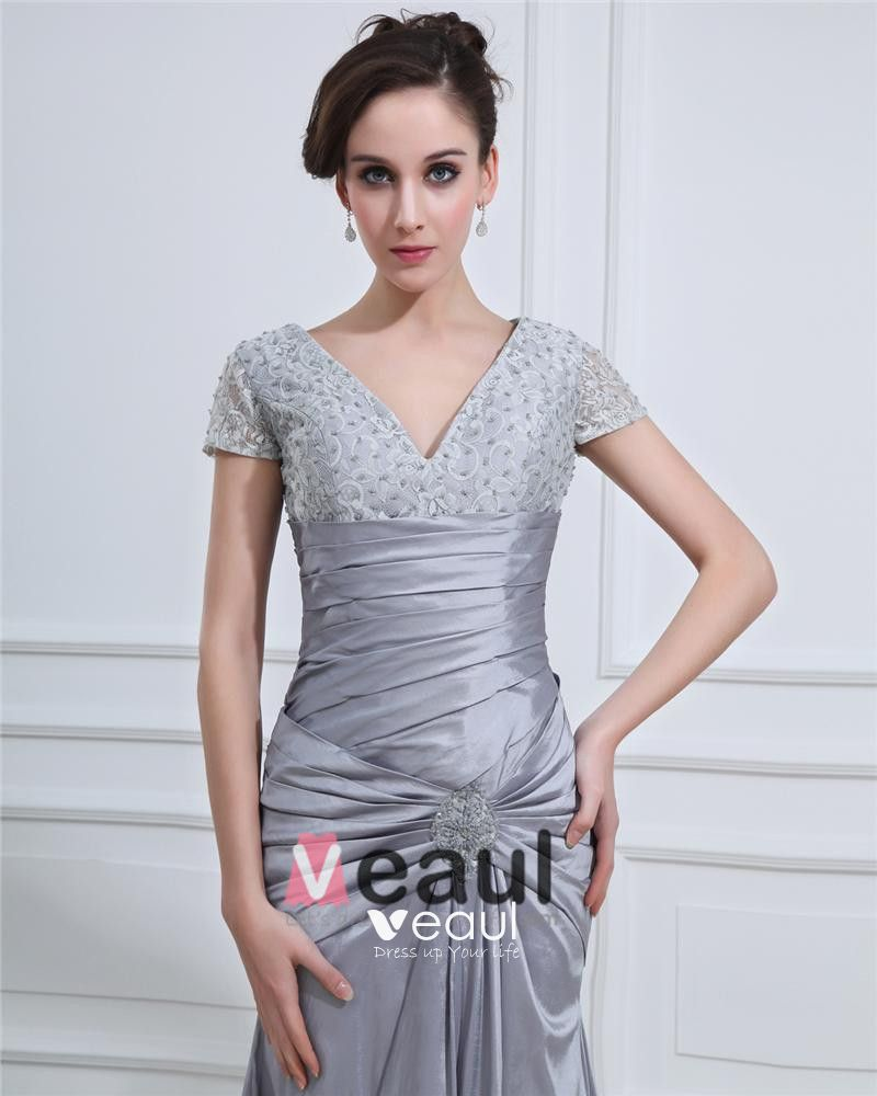 Empire Ruffle Charmeuse V-Neck Floor Length Women's Evening Dress