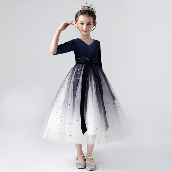 Elegant Royal Blue Gradient-Color Flower Girl Dresses 2020 Ball Gown V-Neck 1/2 Sleeves Star Sequins Sash Tea-length Ruffle
