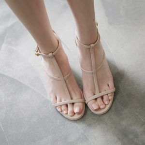 Modest / Simple Nude Casual Summer Womens Sandals 2018 Leather T-Strap 7 cm Thick Heels Open / Peep Toe Sandals