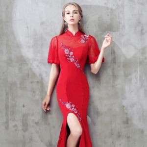Chic / Beautiful Red Chinese style Formal Dresses 2017 Trumpet / Mermaid Lace Flower Strappy High Neck 1/2 Sleeves Floor-Length / Long Evening Dresses