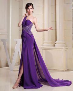 Mode Chiffon Charmeuse Seide Plissiert Perlen One Shoulder Hofzug Ärmellose Frauen Abendkleid