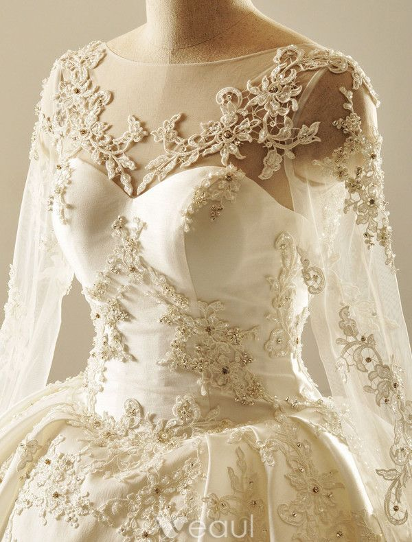 Luxurious Wedding Dresses 2017 Square Neckline Applique Lace Bead Rhinestones Ruffled Ivory Satin Bridal Gowns (1.1m Train)