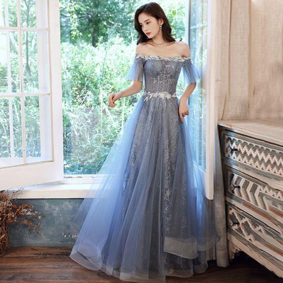 Charming Sky Blue Evening Dresses  Prom Dresses 2021 A-Line / Princess Off-The-Shoulder Glitter Sequins Short Sleeve Backless Floor-Length / Long Evening Party Prom Formal Dresses