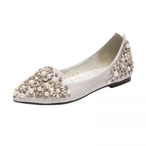 Scintillantes Argenté Chaussure De Mariée 2018 Paillettes Perle Perlage Faux Diamant Cristal À Bout Pointu Plat