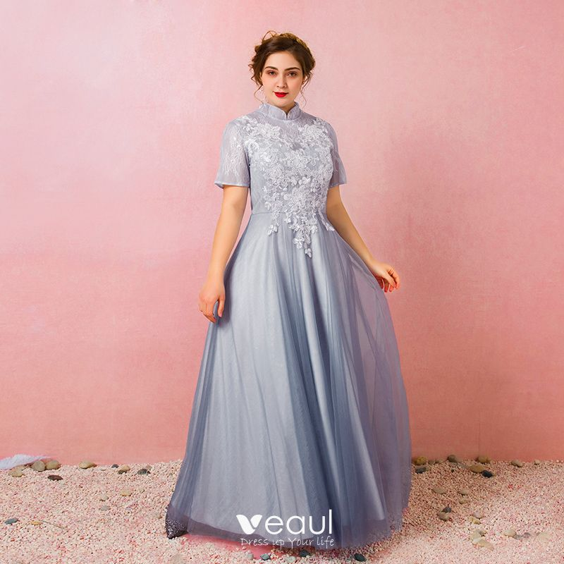 Chinese style Sky Blue Plus Size Prom Dresses 2018 A-Line / Princess  Lace-up Tulle High Neck Appliques Backless Evening Party Prom Evening  Dresses
