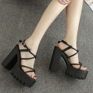 Affordable Black Casual Womens Sandals 2020 Ankle Strap X-Strap 13 cm Wedges Open / Peep Toe Sandals