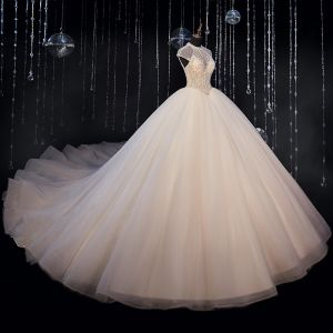 Luxury / Gorgeous Ivory Bridal Wedding Dresses 2020 Ball Gown See-through High Neck Sleeveless Backless Beading Glitter Tulle Cathedral Train Ruffle