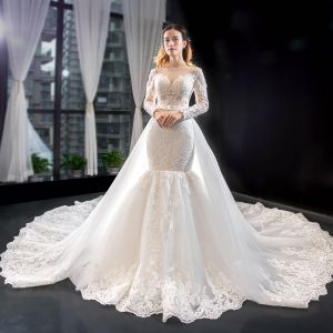 Luxury / Gorgeous Ivory Wedding Dresses 2019 Trumpet / Mermaid Scoop Neck Beading Sequins Lace Flower Long Sleeve Backless Detachable Chapel Train
