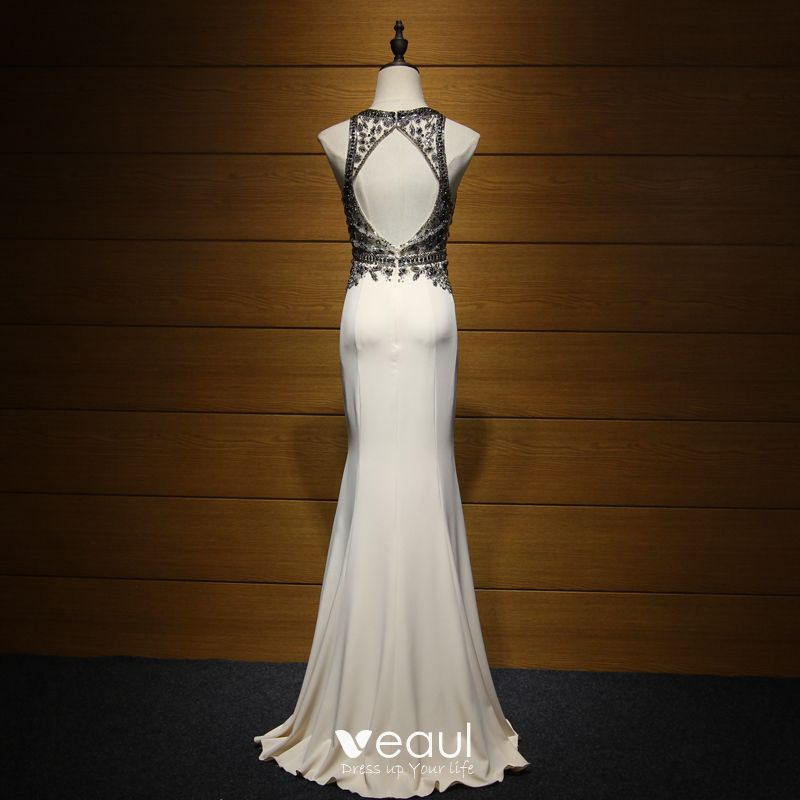Chic / Beautiful Formal Dresses 2017 Evening Dresses  Champagne Trumpet / Mermaid Sweep Train Scoop Neck Sleeveless Backless Beading Crystal Sequins