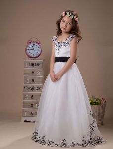 White Embroidery Sash Organza Flower Girl Dress