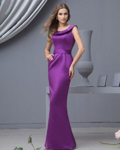 Satin Ruffle Round Neck Floor Length Bridesmaid Dresses