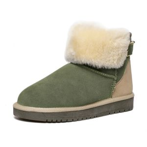 Women's Fashion Army Green Ankle Winter Snow Boots With Buckle