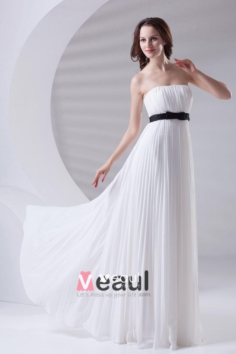 Slim Ruffle Design with Belt Decoration Strapless Floor Length Chiffon Bridesmaid Dress