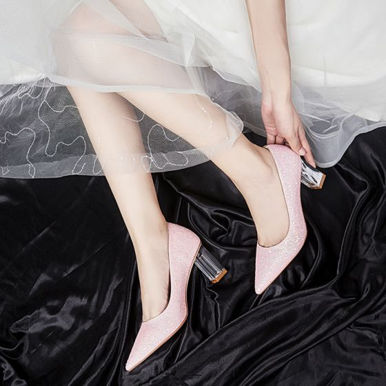 Romantic Lovely Blushing Pink Wedding Shoes 2020 7 cm Beading Sequins Pointed Toe Cocktail Party Evening Party Wedding Womens Shoes