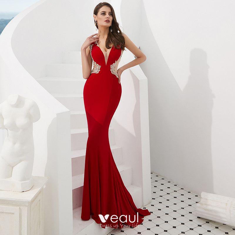 07d45d8cd Magnífico Rojo Transparentes Vestidos de noche 2019 Trumpet   Mermaid  V-Cuello Sin Mangas Rebordear Colas De Barrido ...