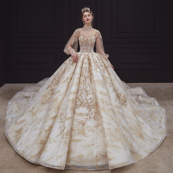 Victorian Style Champagne See-through Bridal Wedding Dresses 2020 Ball Gown High Neck Puffy Long Sleeve Backless Sequins Beading Glitter Tulle Royal Train Ruffle